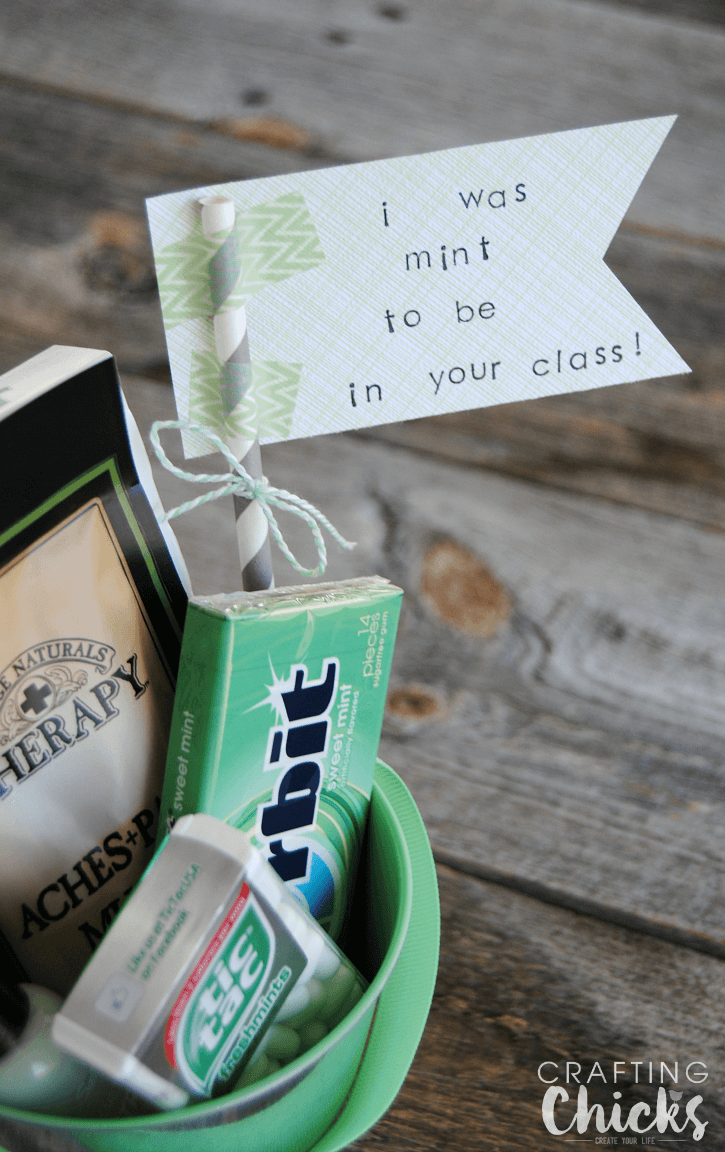 """Mint Themed Teacher Gift with a cute """"I was Mint to be in Your Class"""" paper flag!"""