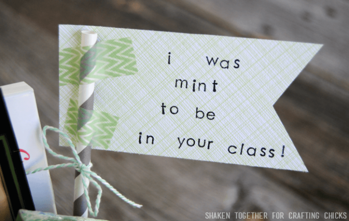 "Stamp a paper flag with ""I was Mint to be in your Class"" for a cute touch for the Mint Themed Teacher Gift!"