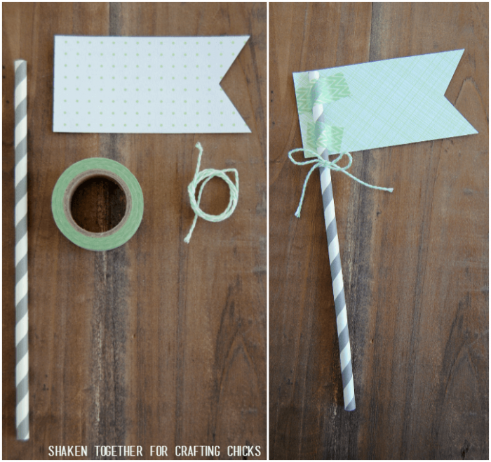 A few basic craft supplies make a paper flag to tuck in our Mint Themed Teacher gift!