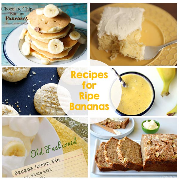 21 Recipes for Ripe Bananas - bread, cookies, smoothies, shakes, muffins, pancakes, pies and so much more!