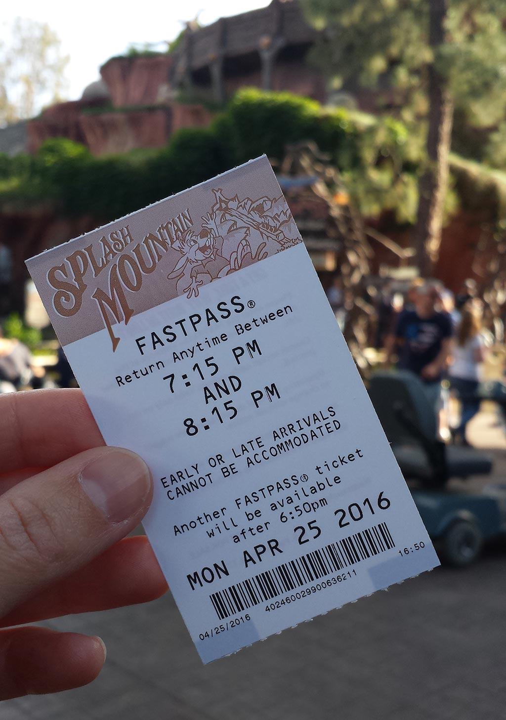 Splash Mountain Fastpass Disneyland California