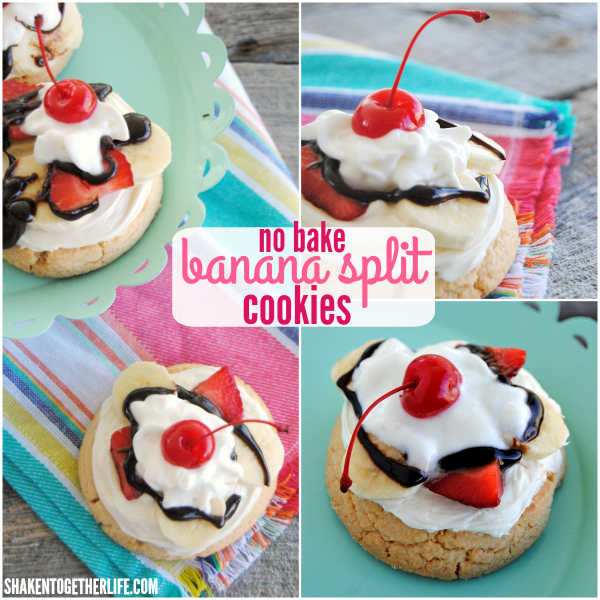 Banana Split Cookies from Shaken Together - no bake and SO fun!
