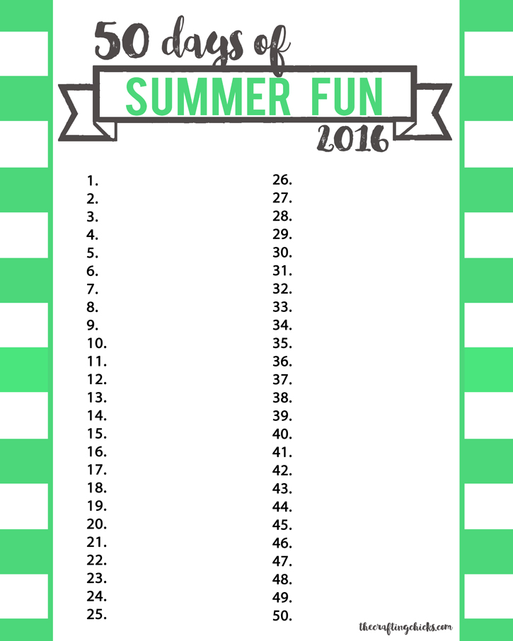 summer fun chart 2016 green