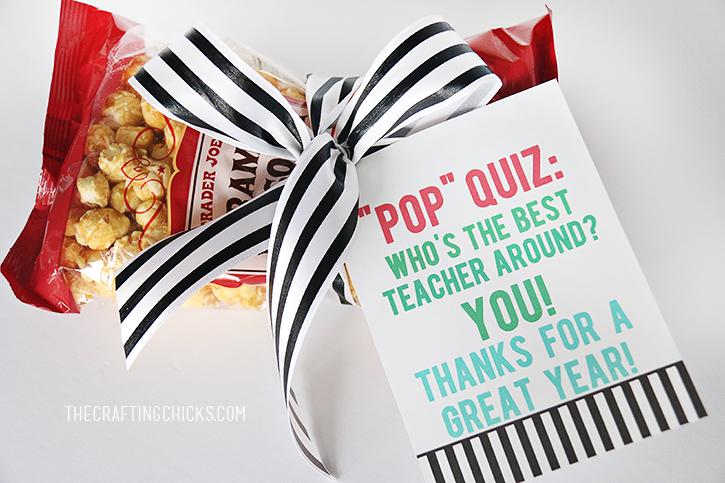 Pop Quiz | Free Printable teacher gift idea