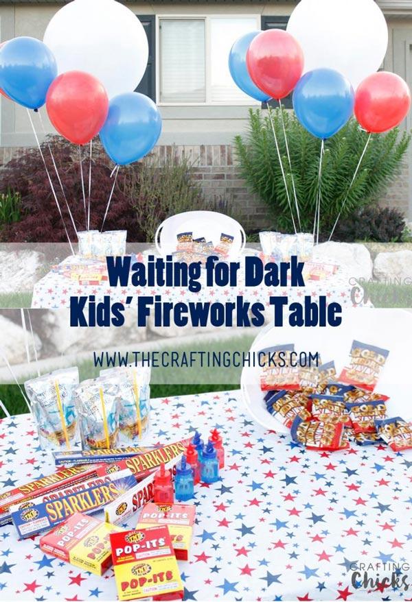 Waiting for Dark - Kids' Fireworks Table
