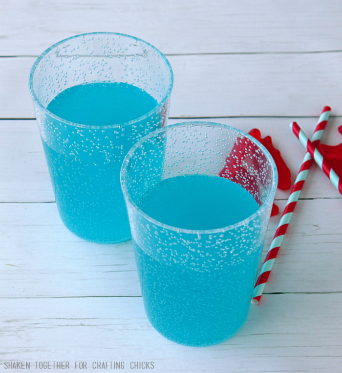 Blue punch, sports drink or soda create the blue water for Ocean Floats!