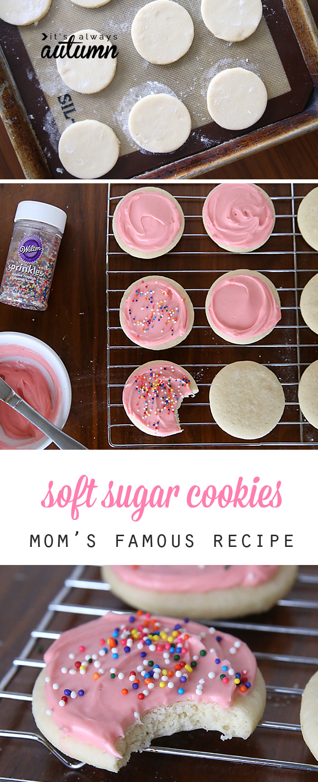 the best soft sugar cookie + cream cheese frosting recipe