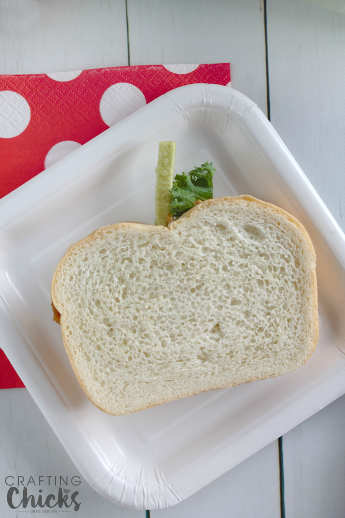 An apple shaped sandwich is one part of this awesome Apple Themed Lunch!