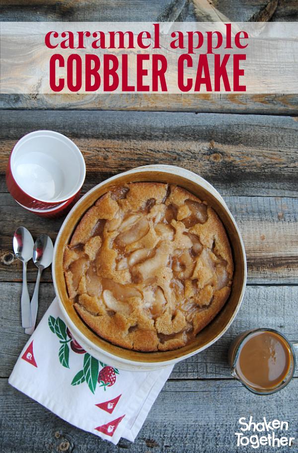 Caramel Apple Cobbler Cake from Shaken Together
