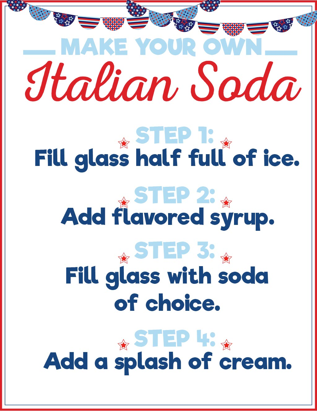 Patriotic Italian Soda Printable