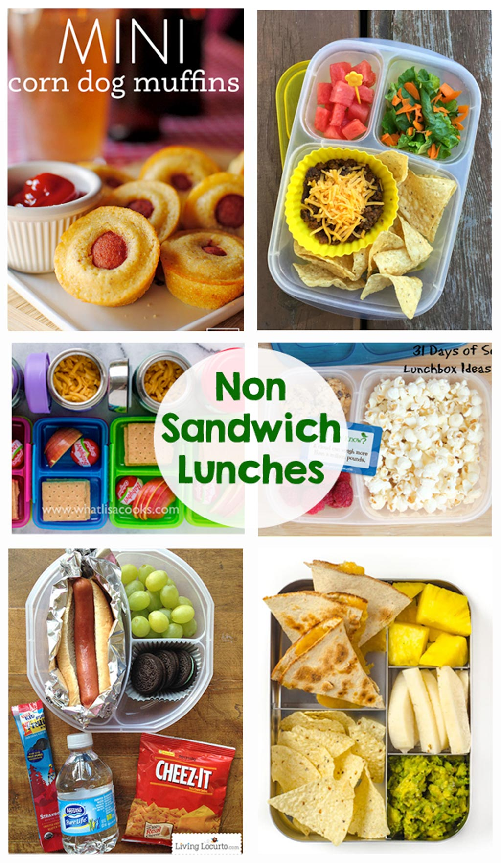 Non Sandwich Lunch Ideas - So many great school lunch ideas in this post! Hot dogs, quesadillas, mini corn dogs, mac and cheese, taco salad... yum!