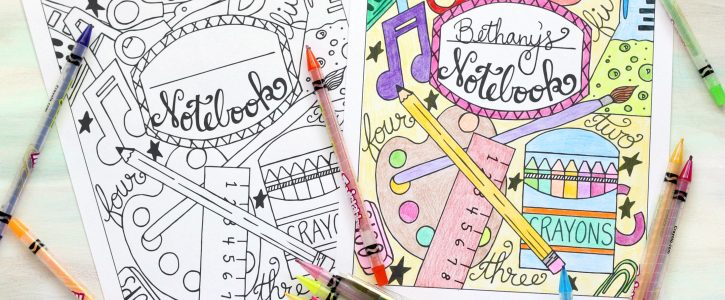 Back to School Notebook Cover Printable Coloring Page