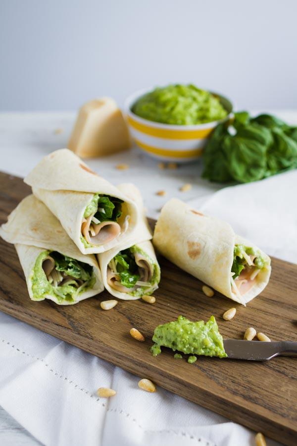 Pesto Turkey Wraps