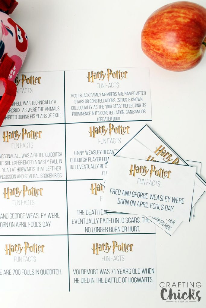 Harry Potter Fun Facts Lunchbox Printables