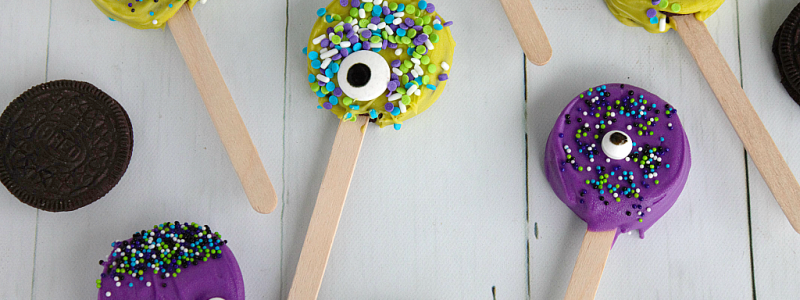 Kids can help with every step of these easy no-bake Monster Face Oreo Pops!