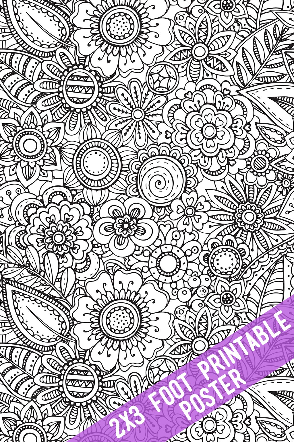 Floral Coloring Poster