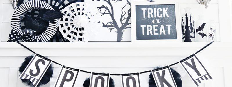 Black & White Halloween Mantle Decor
