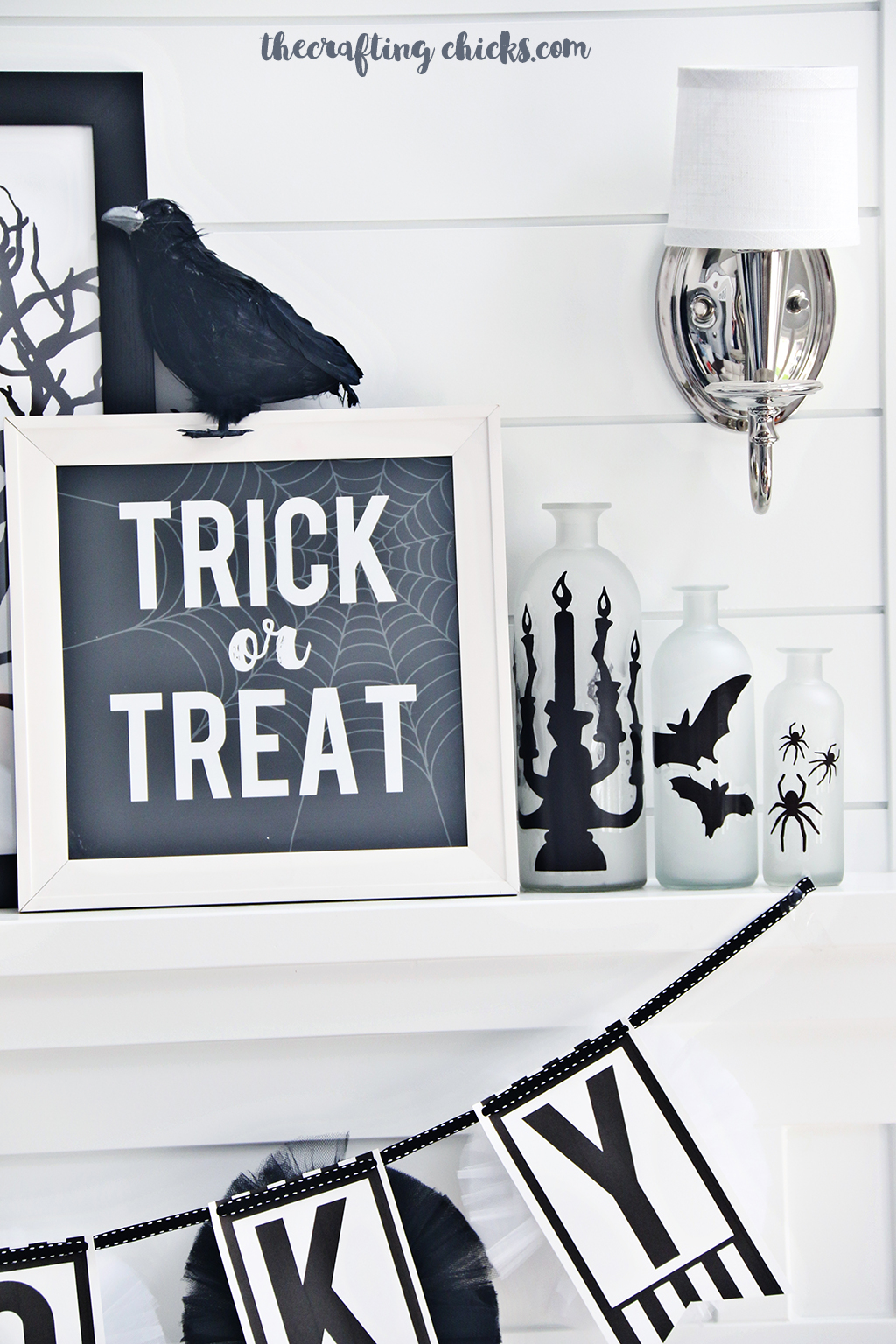 Black & White Halloween Mantle Decor