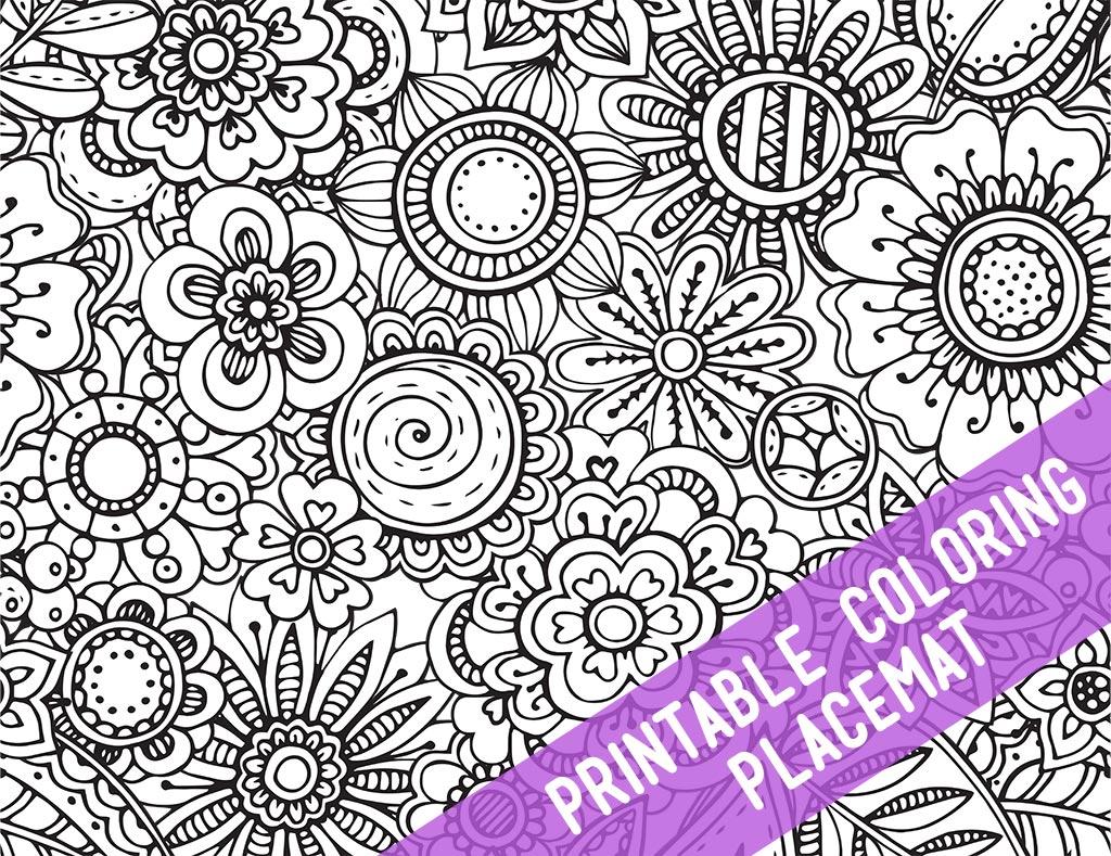Floral Coloring Placemat