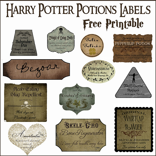 Harry Potter Potion Labels Free Printable