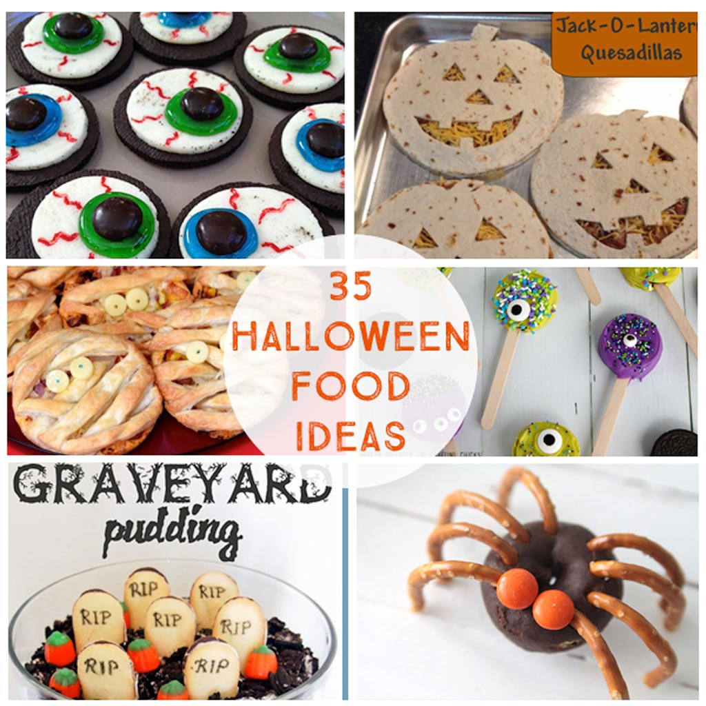35 Halloween Party Food Ideas - Appetizers, snacks, treats, desserts, pizzas and drinks for your school, family or preschool Halloween party!