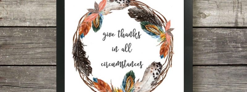 Give Thanks Feather Wreath Printable