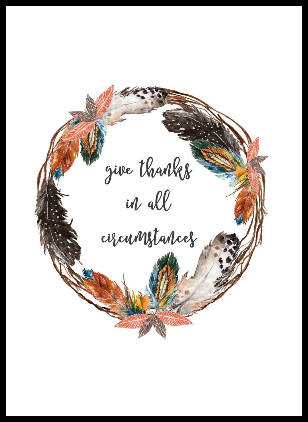 photograph regarding Give Thanks Printable identify Provide Owing Feather Wreath Printable