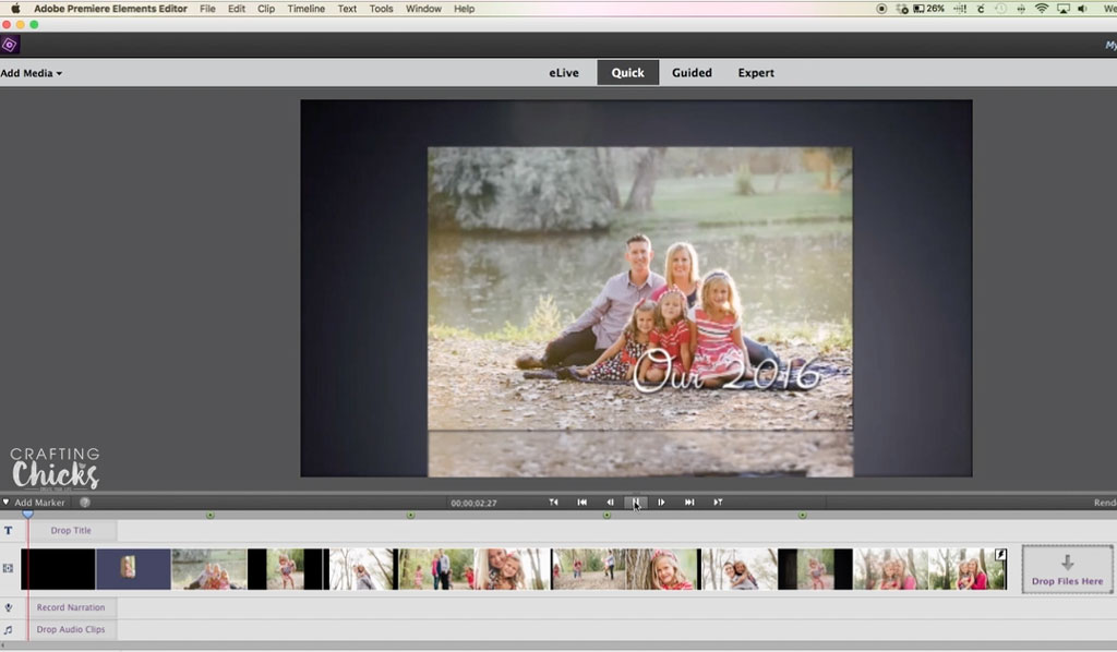 Using Adobe Premiere Elements 15 to create a video
