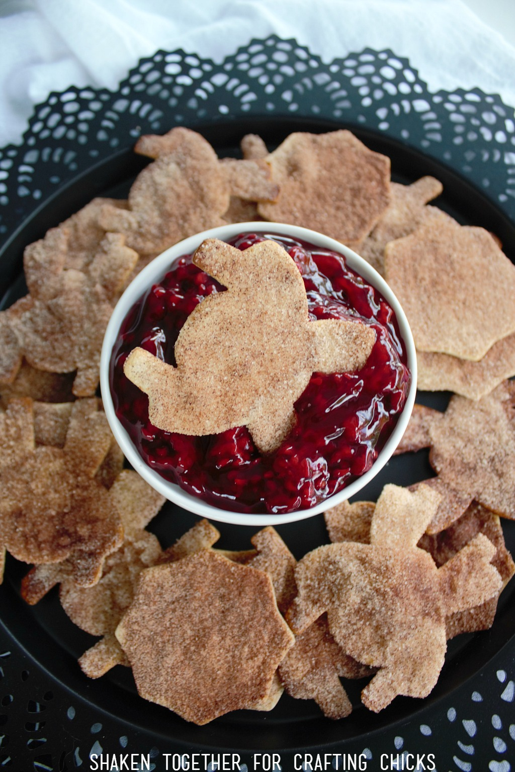 Cinnamon Sugar Spider Chips are delightfully dunkable - especially into raspberry 'guts'!