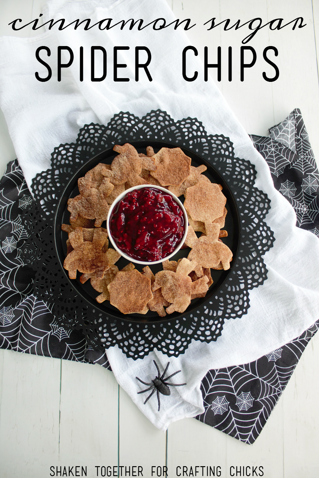 Cinnamon Sugar Spider Chips with tangy Raspberry Guts are a delicious spooky Halloween treat!