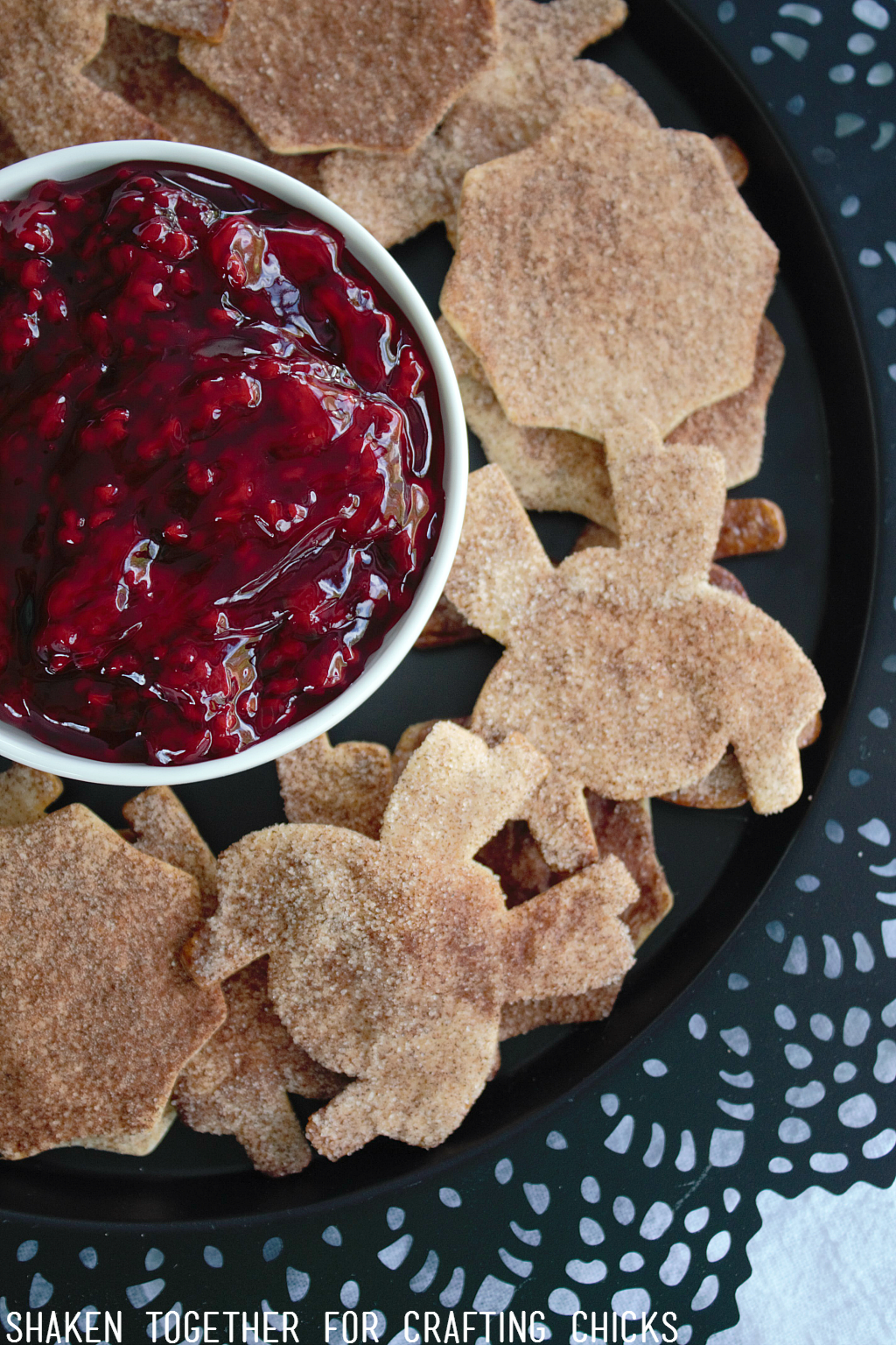 Cinnamon Sugar Spider Chips are perfect to dip in tangy red raspberry 'guts' (raspberry pie filling)!