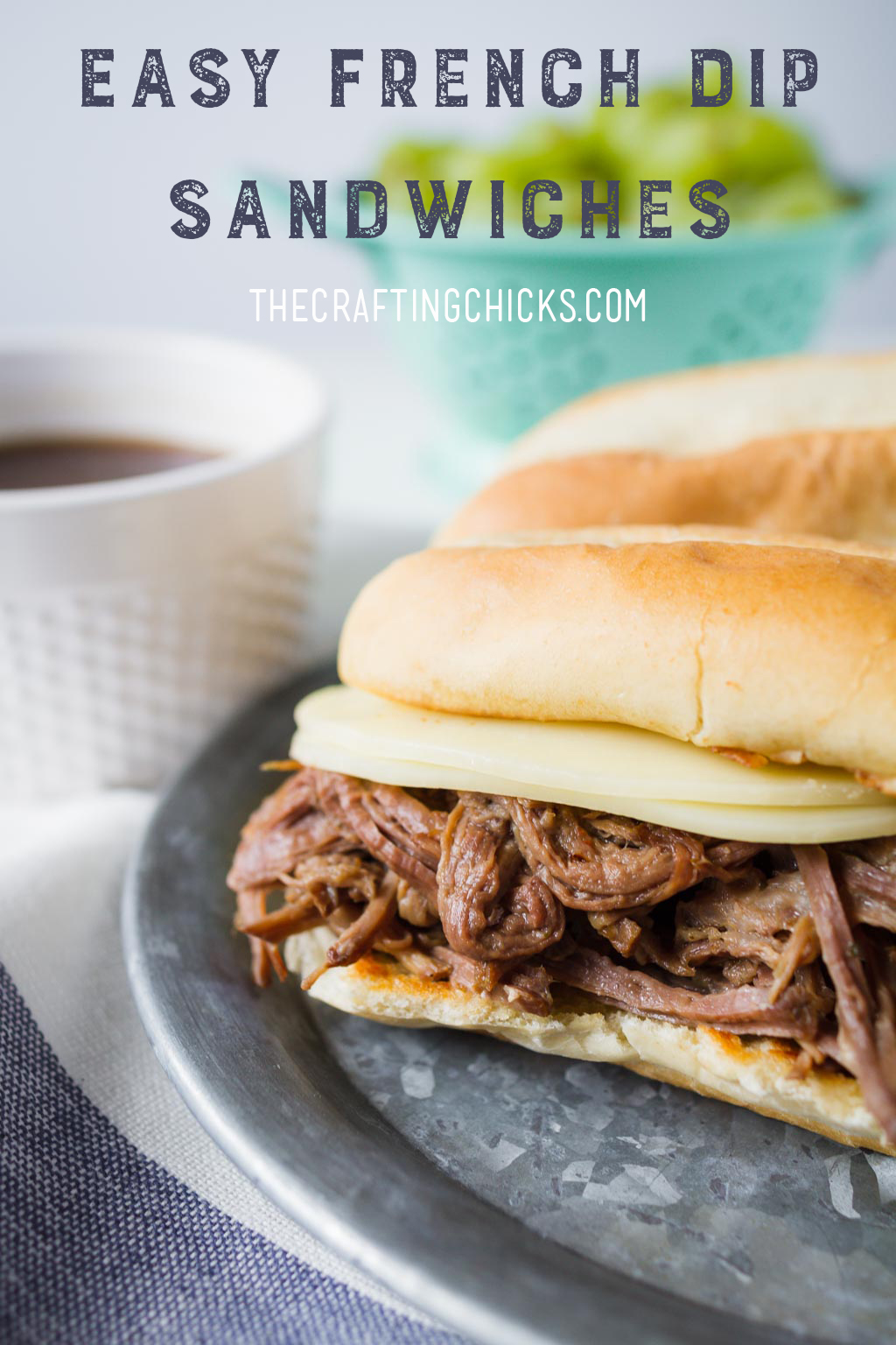 Easy French Dip Sandwiches in the crockpot or slow cooker