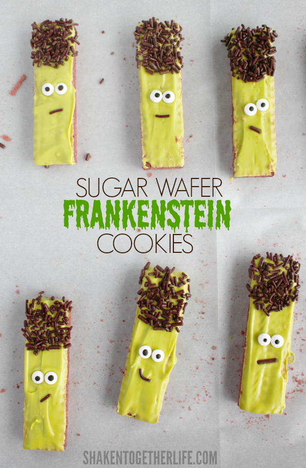 No Bake Sugar Wafer Frankenstein Cookies from Shaken Together
