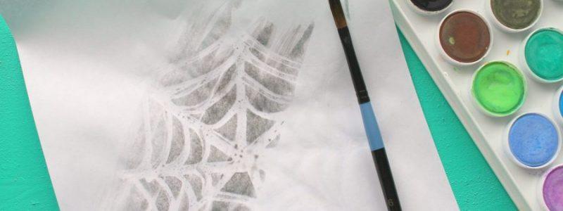 Watercolor Resist Spiderweb Art