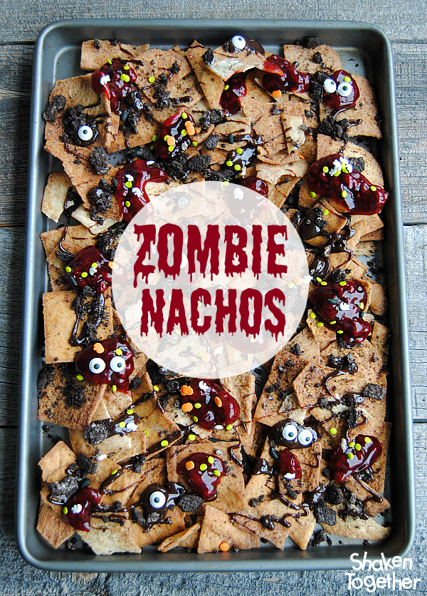 Zombie Nachos - Halloween dessert nachos from Shaken Together