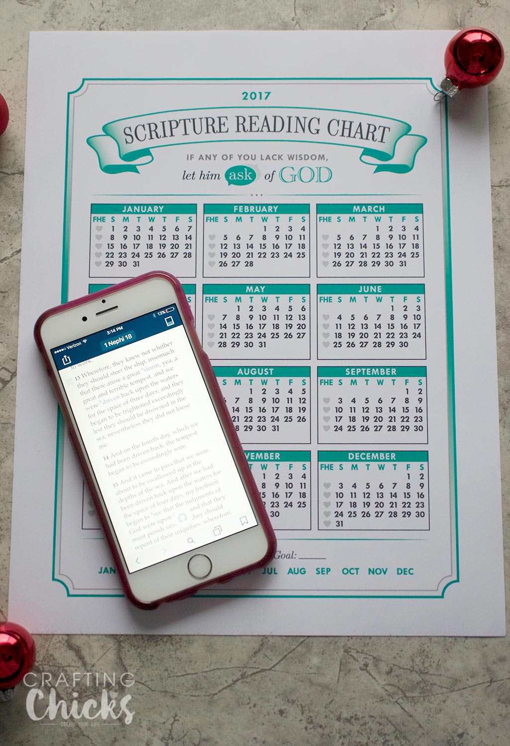 2017 Scripture Reading Chart Printable