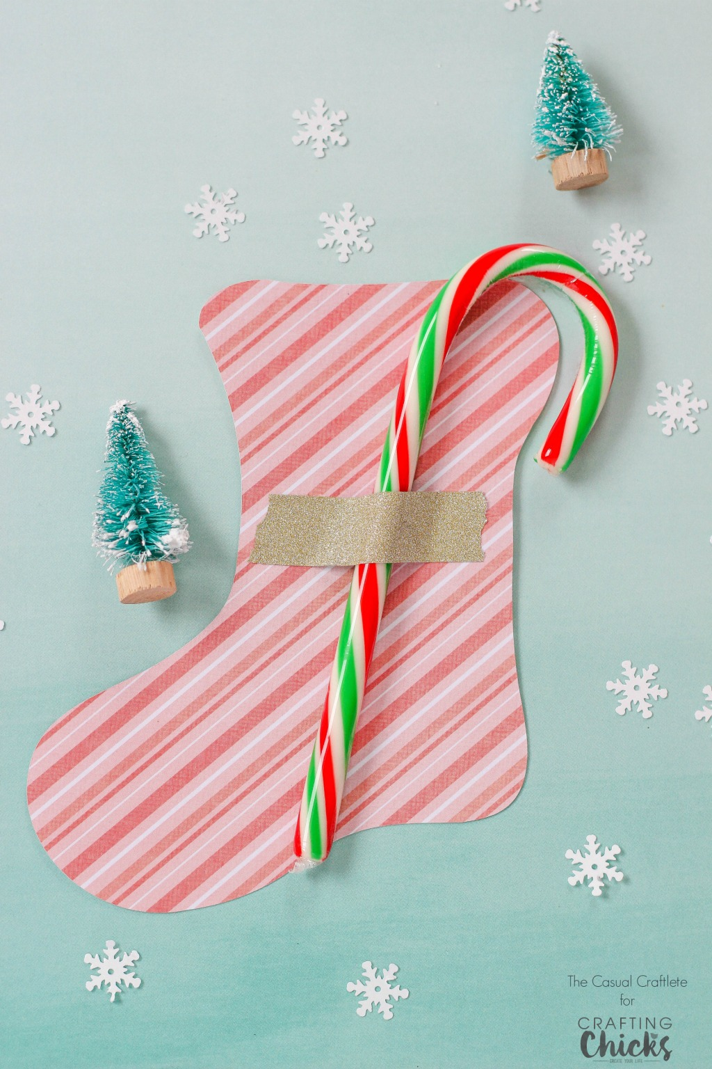 Use this Free Printable Stocking Template for a cute and easy gift idea for kids. Attach a candy cane using tape and you're done!