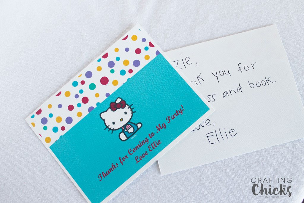 Hello Kitty Spa Party Thank you notes