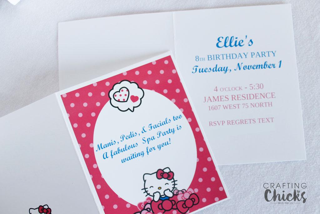 Hello Kitty Spa Party Invitation