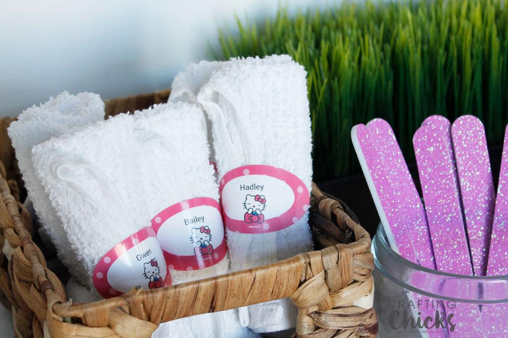 Hello Kitty Spa Party washcloths