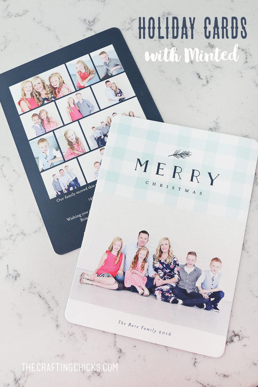 Navy and light blue Christmas Holiday cards are perfect this holiday season.