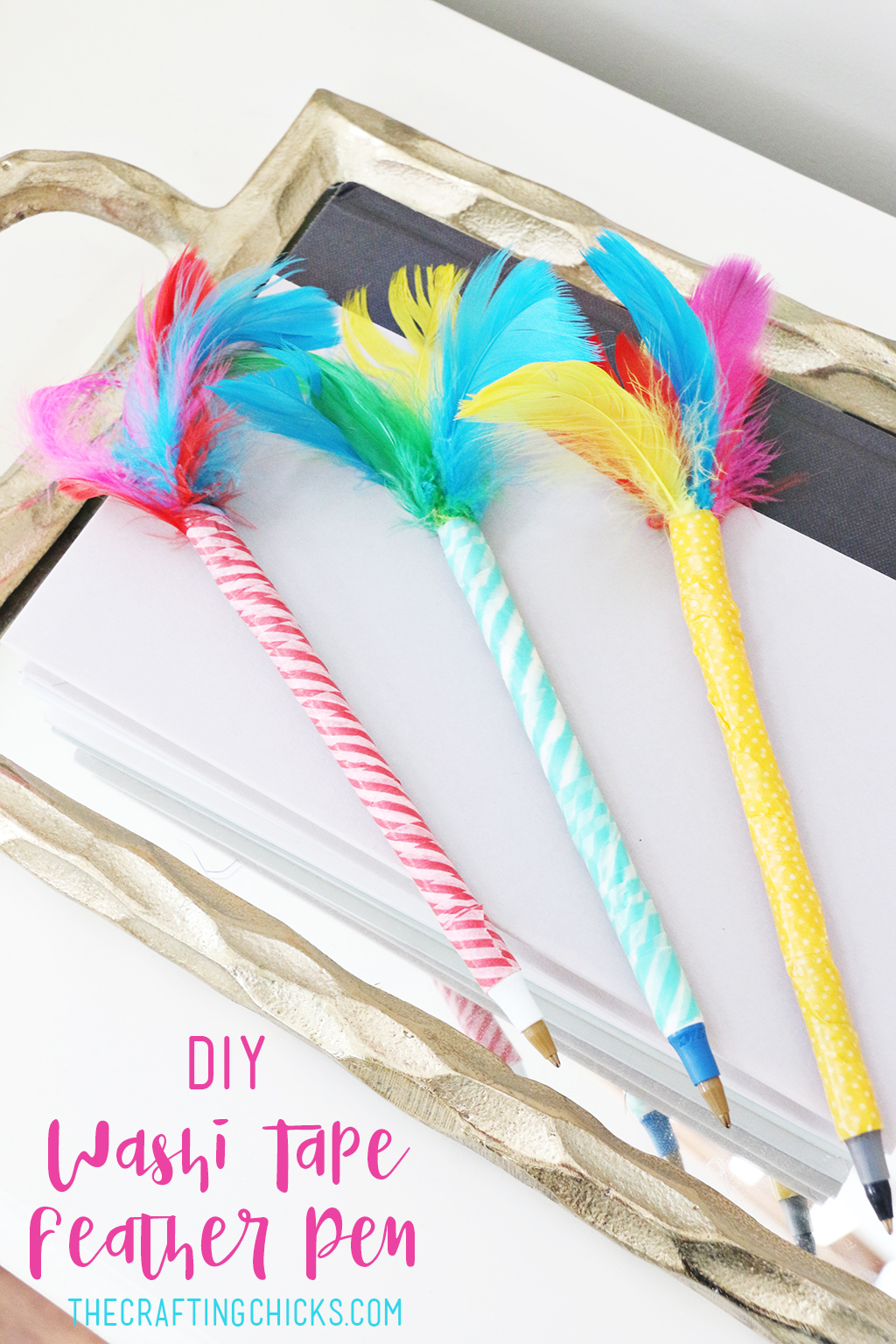 Washi Tape Feather Pens