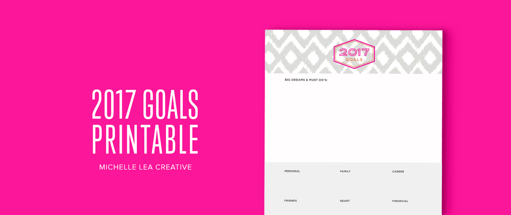 2017 Goals Printable - Plan your big dreams, personal, financial, family, heart, career, and friend goals.