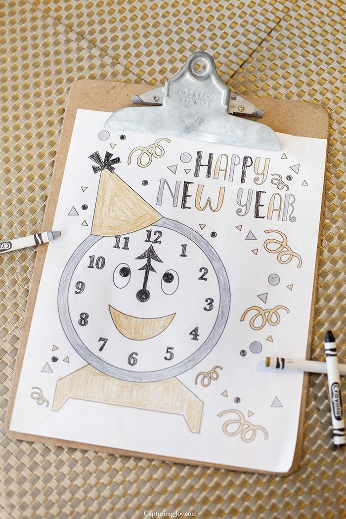 New Year's Printables - Party favors, decorations, party hats, coloring pages, New Year's gifts, countdown, year in review, and resolution printables