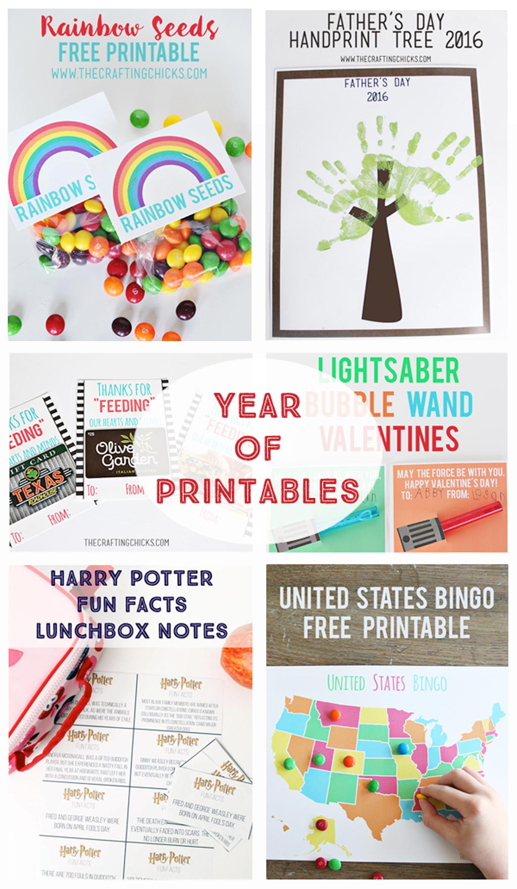 A Year of Printables - New Year, Winter, Valentines, Easter, St. Patrick's Day, Spring, Mother's Day, Father's Day, Kids, Teacher Appreciation, School Lunch Notes, Halloween, Thanksgiving, Christmas... printables for an entire year!
