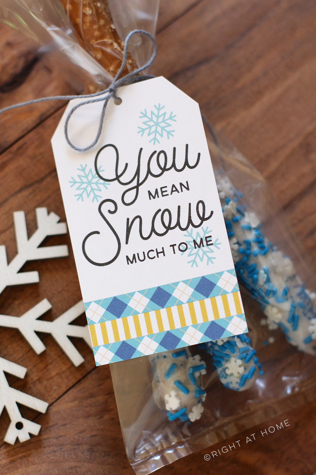 Printable Snowflake Tags + Dipped Pretzels - A yummy neighbor gift idea!
