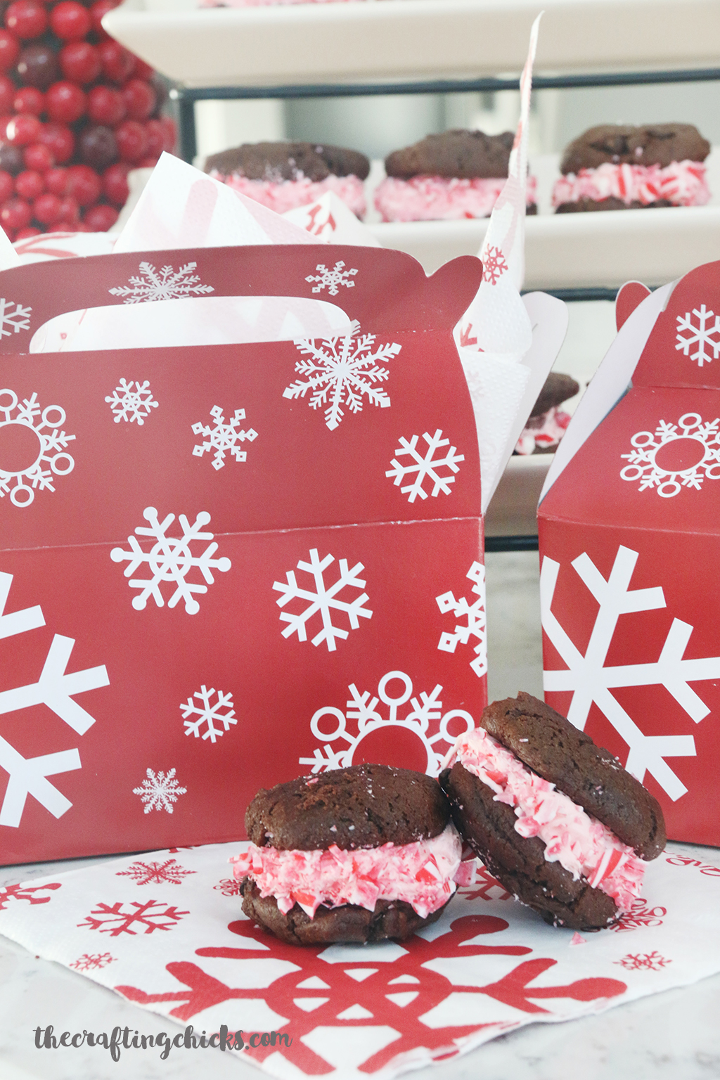 Peppermint Whoopie Pies Recipe - A yummy dessert for Christmas parties or a family get together.