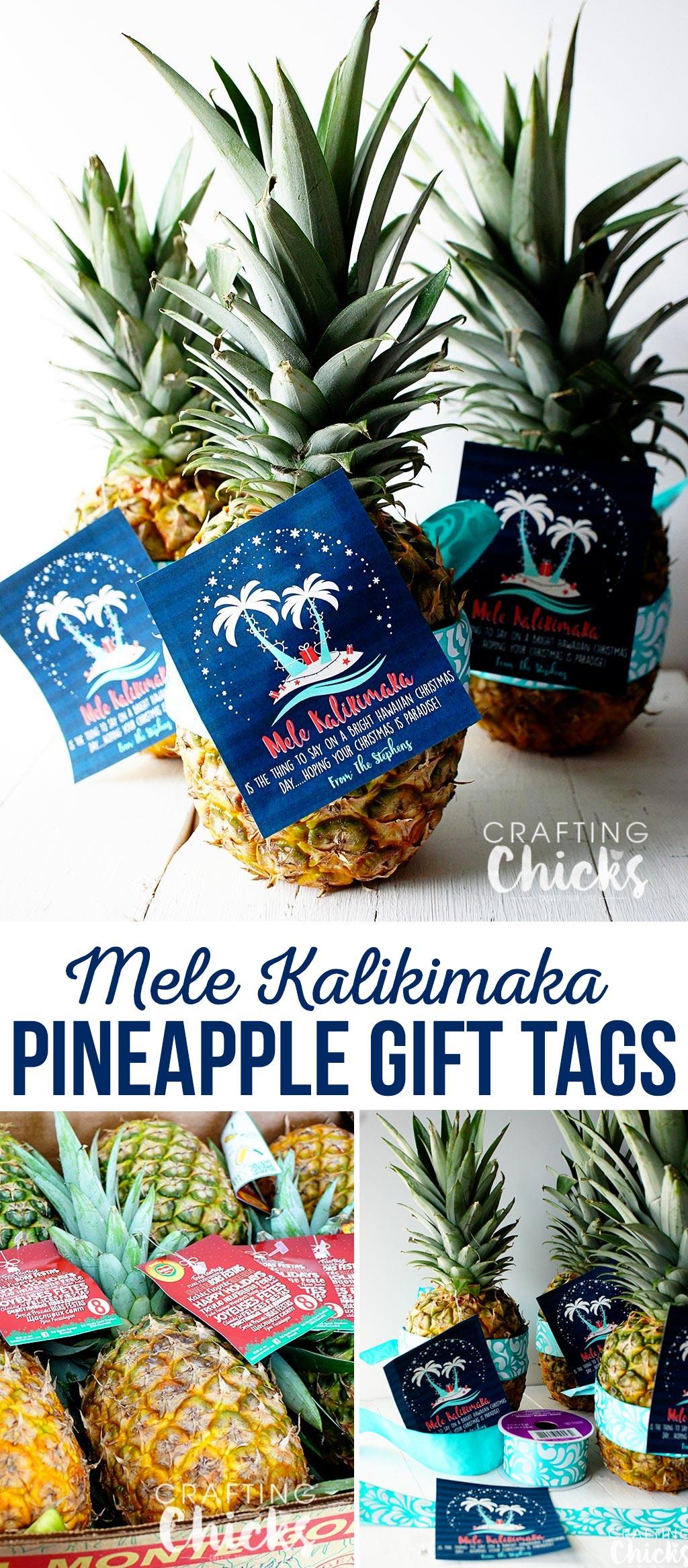 Pineapple Christmas Gift Tag - Mele Kalikimaka