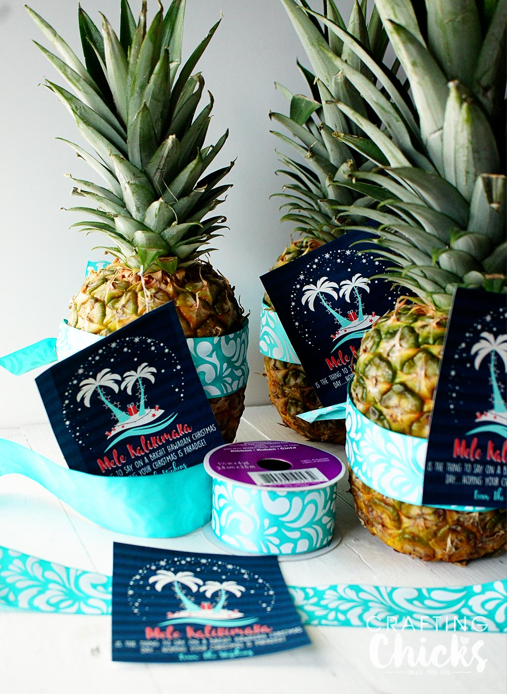 Christmas Gift Tag - Free Printable - Neighbor gift idea - Give a pineapple and wish your neighbors a Mele Kalikimaka!