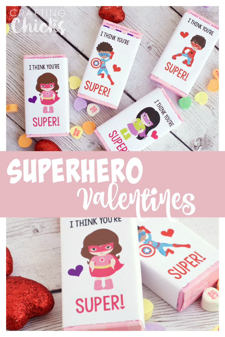 Kids dressed as superheros attached to a valentine candy for a valentine treat.